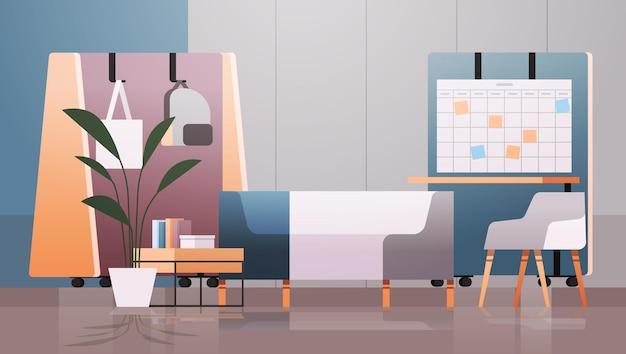 Leerer coworking center moderner büroraum innenraum mit möbeln horizontale illustration