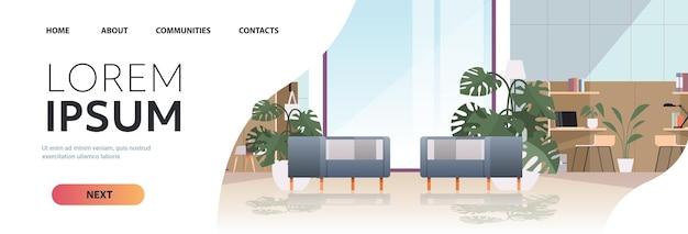 Leerer coworking center moderner büroraum innenraum offener raum mit möbeln horizontale kopie raum illustration