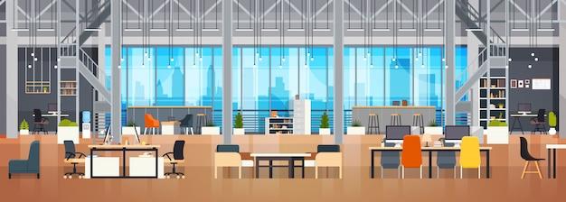 Leerer coworking-raum-innenmoderner coworking-büro-kreativer arbeitsplatz-raum-horizontale fahne