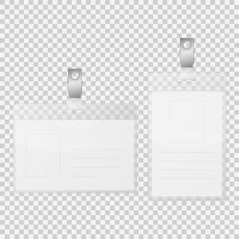 Leerer etikettenausweishalter isoliert auf transparent