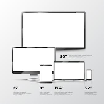 Leerer fernsehschirm, lcd-monitor, notizbuch, tablet-computer, smartphonemodelle lokalisiert auf weißem backgr