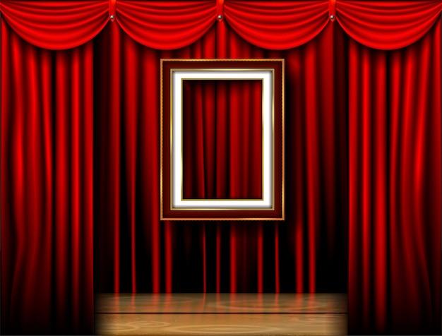 Leerer fotorahmen auf rotem vorhanghintergrund