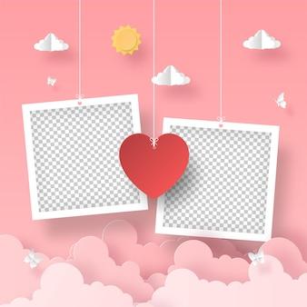 Leerer fotorahmen mit herzformballon am romantischen valentinstag des himmels