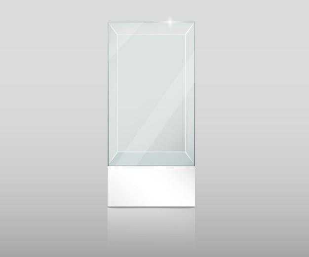 Leerer glasschaukasten im würfelformvektor