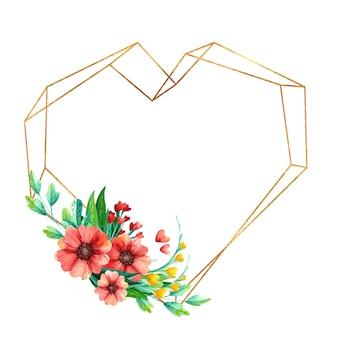 Leerer goldener herzformrahmen mit aquarell-frühlingsblumen