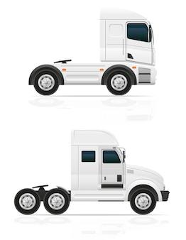 Leerer großer lkw-traktor für transportfracht-vektorillustration