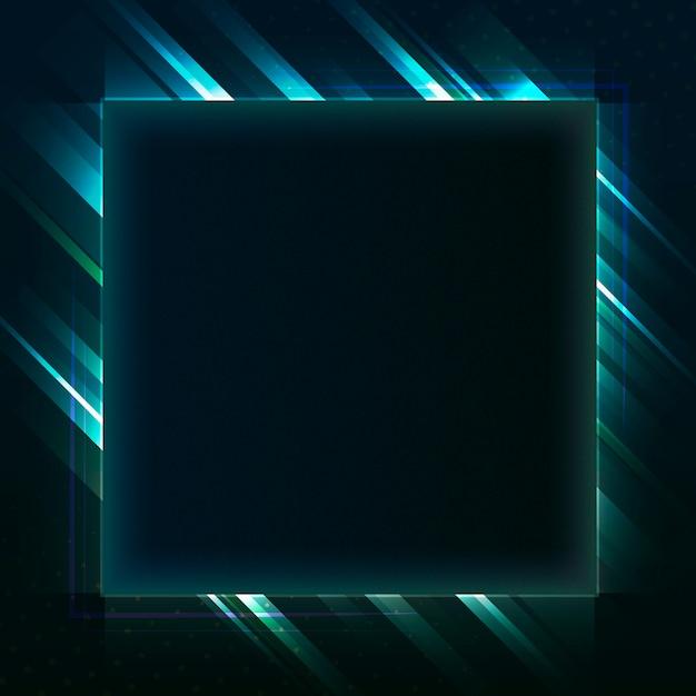 Leerer grüner quadratischer neonschildvektor