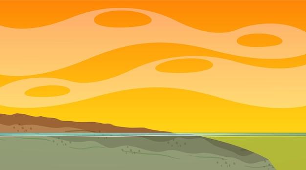 Leerer himmel bei sonnenuntergang zeitszene mit leerer flutlandschaft