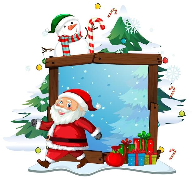 Leerer holzrahmen mit weihnachtsmann im weihnachtsthema auf weißem hintergrund