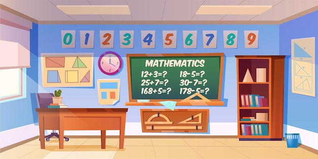 Leerer innenraum des mathematikklassenzimmers
