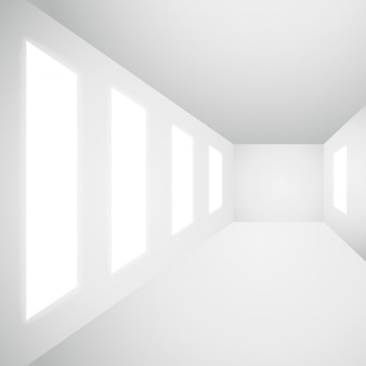Leerer innenraum galerie mit fenstern