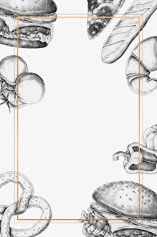 Leerer junk-food-rahmen-design-vektor