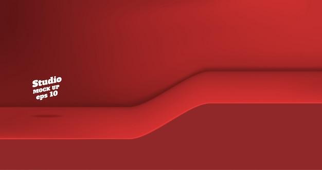 Leerer klarer studiotabellenhintergrund der roten farbe