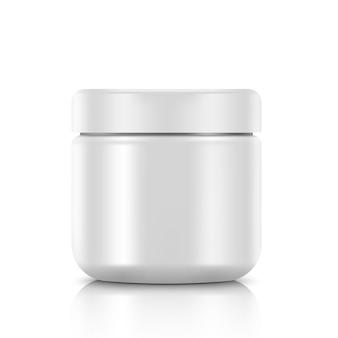Leerer kosmetikbehälter für creme. illustration auf weißem hintergrund