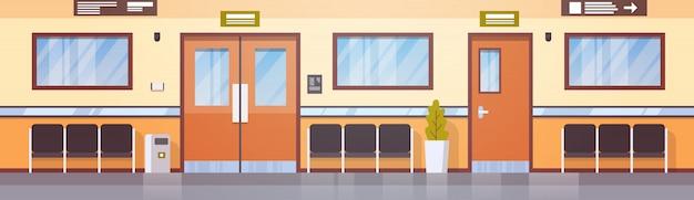 Leerer krankenhaus-korridor-klinik-hallen-innenraum