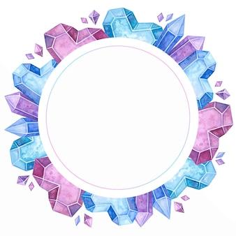 Leerer kreisförmiger rahmen mit handgezeichneter illustration der eiskristalle und der edelsteine.