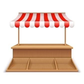 Leerer marktstand. hölzerner kiosk, straßenlebensmittelgeschäftstand mit gestreifter markise und gegenschreibtischschablone