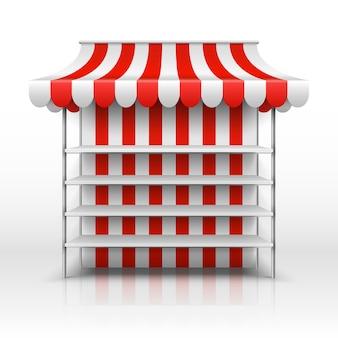 Leerer marktstand. kiosk mit gestreifter markisenvektorschablone. illustration des marktkiosks mit markisen-, einzelhandels- und geschäftsstraße