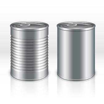 Leerer metallproduktbehälter, blechdosen lokalisiert auf transparentem kariertem hintergrund