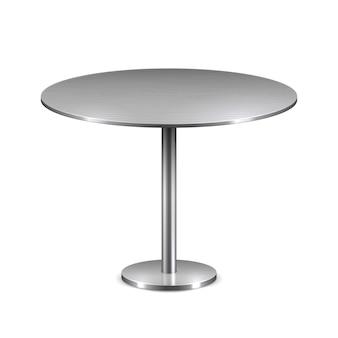 Leerer moderner runder tisch mit dem metallstand lokalisiert.