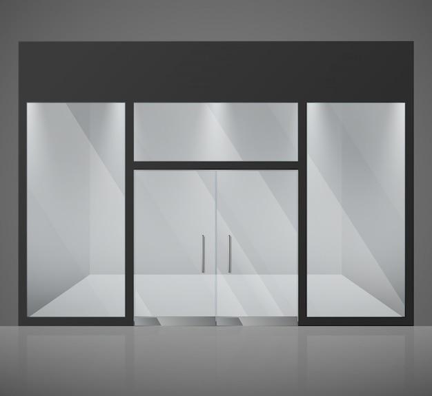 Leerer modespeicher, shop mit großem glasfenster und eingangsvektorillustration