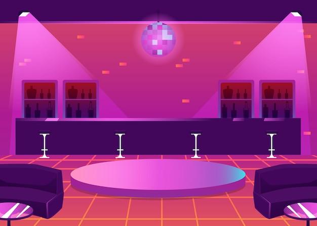 Leerer nachtclub oder kneipeninnenraum mit bartheke und tanzfläche, flache vektorillustration