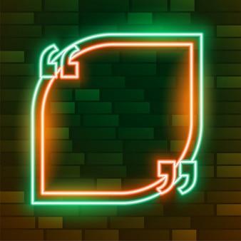 Leerer neon leuchtender zitatrahmen mit textraum