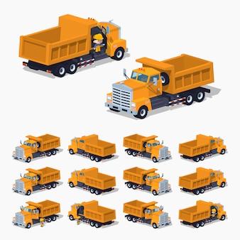 Leerer orange isometrischer lowpoly-dumper 3d