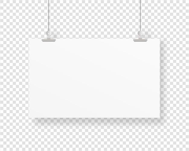 Leerer papierrahmen, der mit büroklammer hängt. leere plakatvorlage. . vorlage . realistische illustration.