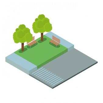 Leerer park isometrisch