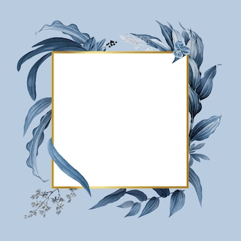 Leerer rahmen mit blauem blattdesignvektor