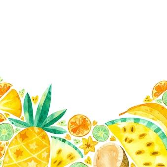Leerer rahmen mit gezeichneter illustration der tropischen früchte hand