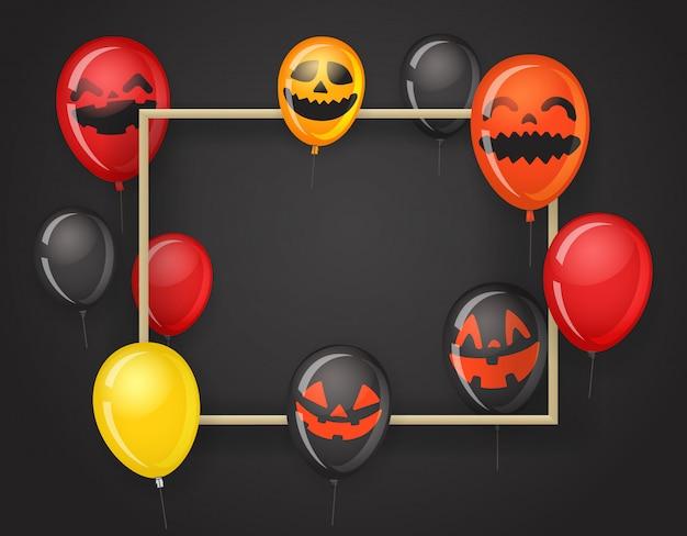 Leerer rahmen mit halloween-ballonen.