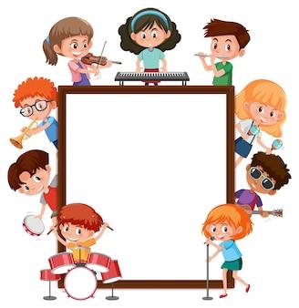 Leerer rahmen mit vielen kindern, die verschiedene aktivitäten ausführen