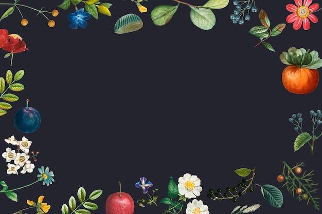 Leerer rahmenvektor auf botanischem muster des sommers