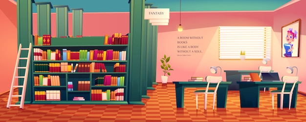Leerer raum der bibliothek im inneren zum lesen von büchern