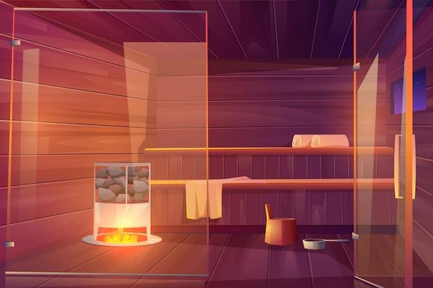 Leerer raum der sauna mit glastüren