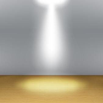 Leerer raum, graue wand mit scheinwerfern und realistischem holzboden. showroom-konzept.
