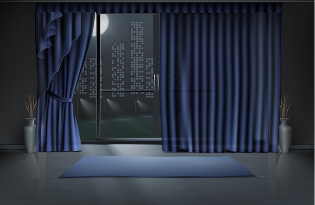 Leerer raum in der nacht mit großer glastür und blauen vorhängen, yogamatte auf sauberem boden