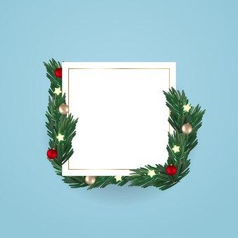Leerer raum mit realistischer weihnachtsdekoration