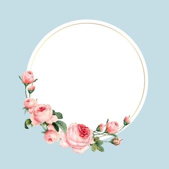 Leerer runder rosa rosenrahmenvektor auf blauem hintergrund