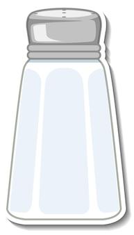 Leerer salzflaschenaufkleber auf weißem hintergrund
