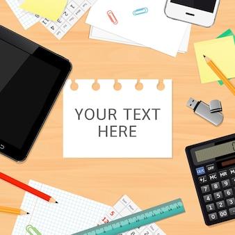 Leerer schreibtischhintergrund mit kopierraum für text