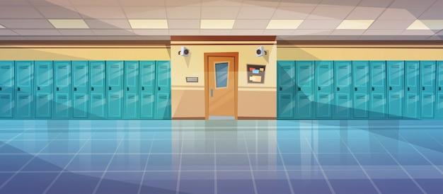 Leerer schulkorridor-innenraum mit reihe von schließfächern