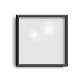 Leerer schwarzer bilderrahmen, quadratischer leerer bilderrahmen auf weiß