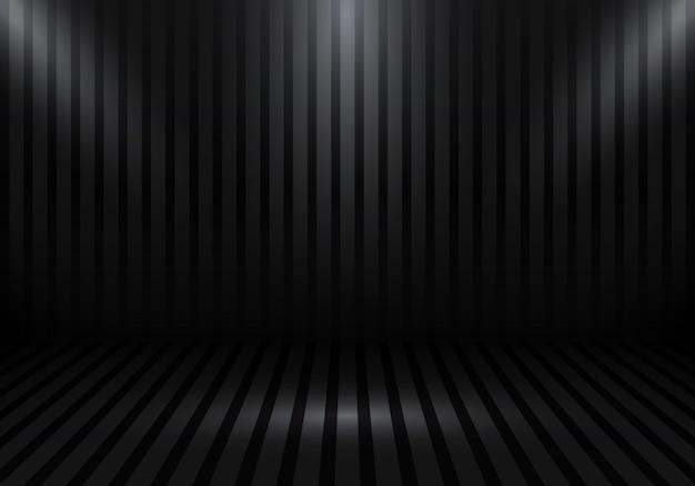 Leerer schwarzer raumhintergrund des studios 3d