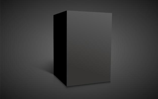 Leerer schwarzer würfel auf dunklem hintergrund isoliert