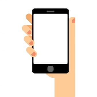 Leerer smartphone-bildschirm. hand hält das smartphone