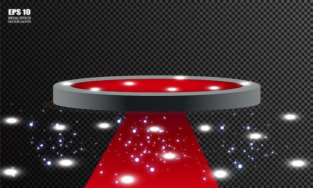 Leerer sockel für die preisverleihung. plattform von scheinwerfern beleuchtet. illustration.