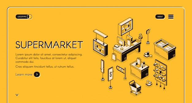 Leerer speicherinnenraum der isometrischen landung des supermarktes